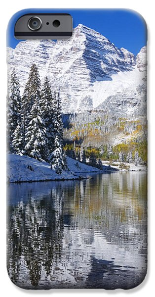 Northern Colorado iPhone Cases - Maroon Lake and Bells 2 iPhone Case by Ron Dahlquist - Printscapes