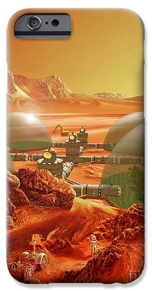 Science Paintings iPhone Cases - Mars Colony iPhone Case by Don Dixon