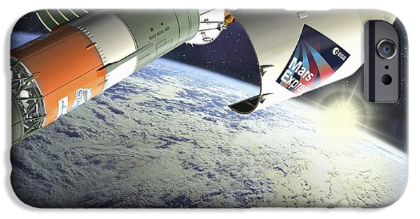 Launching System iPhone Cases - Mars Express Launch, Artwork iPhone Case by David Ducros