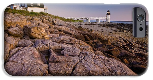 New England Lighthouse iPhone Cases - Marshal Point Light Sunset iPhone Case by Susan Cole Kelly
