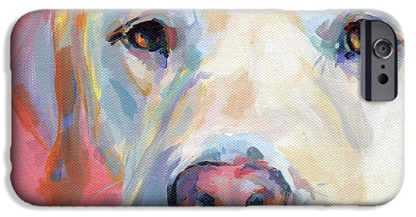 Animal Portraits iPhone Cases - Marthas Pink Nose iPhone Case by Kimberly Santini