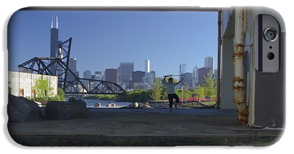 Willis Tower iPhone Cases - Martial Arts in the city iPhone Case by Sven Brogren