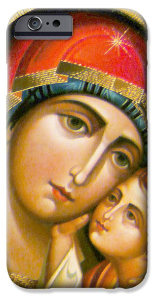 Orthodox iPhone Cases - Mary Icon iPhone Case by Munir Alawi