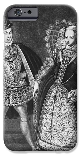 King James iPhone Cases - Mary, Queen Of Scots iPhone Case by Omikron