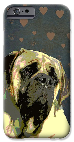 Puppy Digital Art iPhone Cases - Mastiff iPhone Case by One Rude Dawg Orcutt