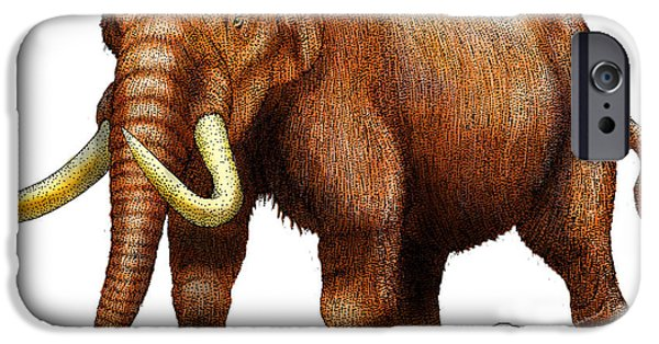 Fauna Drawings iPhone Cases - Mastodon iPhone Case by Roger Hall and Photo Researchers