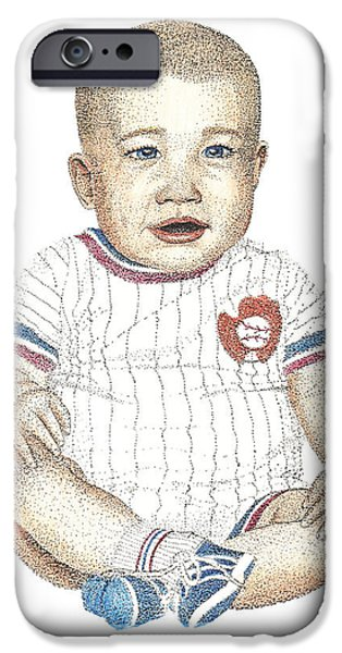 Baseball Uniform Drawings iPhone Cases - Matthew iPhone Case by Brian Wallace