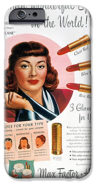 Endorsement iPhone Cases - Max Factor Lipstick Ad iPhone Case by Granger