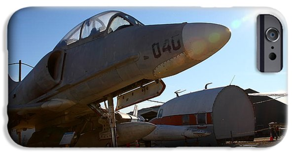 Jet Star iPhone Cases - McDonnell Douglas TA-4J Skyhawk Aircraft Fighter Plane . 7D11302 iPhone Case by Wingsdomain Art and Photography