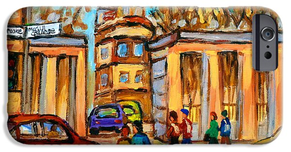 Montreal Land Marks Paintings iPhone Cases - Mcgill Roddick Gates iPhone Case by Carole Spandau