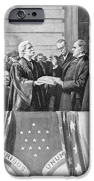 Inauguration iPhone Cases - McKINLEY TAKING OATH, 1897 iPhone Case by Granger