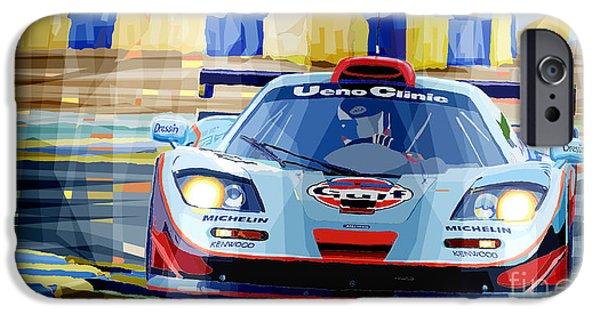 Racing Mixed Media iPhone Cases - McLaren BMW F1 GTR Gulf Team Davidoff Le Mans 1997 iPhone Case by Yuriy  Shevchuk