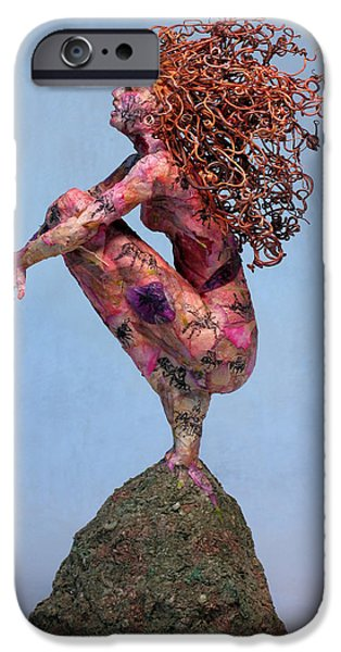 Person Mixed Media iPhone Cases - Meadow a sculpture by Adam Long iPhone Case by Adam Long