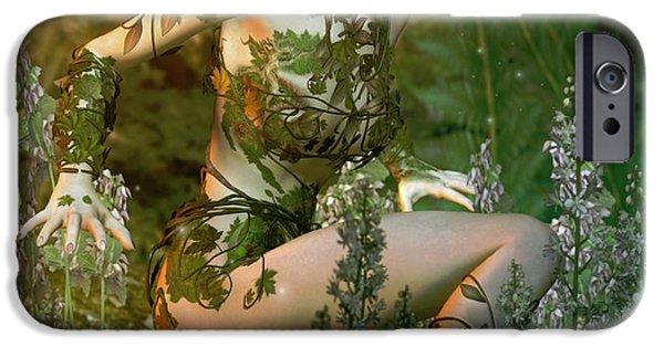 Forest Digital Art iPhone Cases - Meadowlark iPhone Case by Karen H