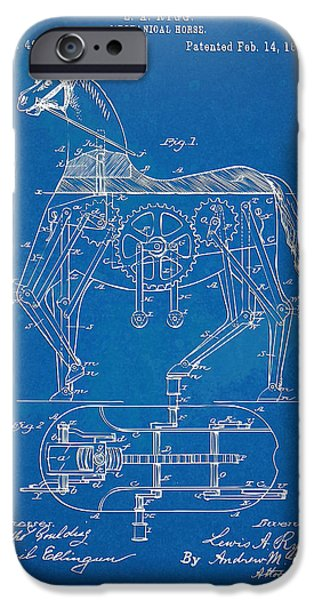 Concept Digital Art iPhone Cases - Mechanical Horse Toy Patent Artwork 1893 iPhone Case by Nikki Marie Smith