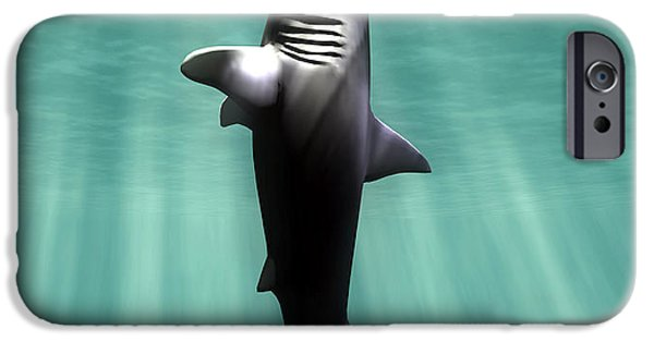 Palaeontology iPhone Cases - Megalodon Prehistoric Shark With Human iPhone Case by Christian Darkin