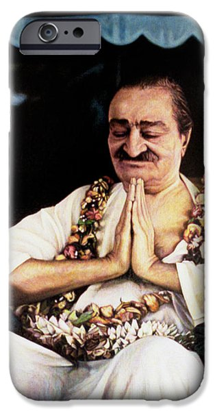 Baba Paintings iPhone Cases - Meher Baba 2 iPhone Case by Nad Wolinska
