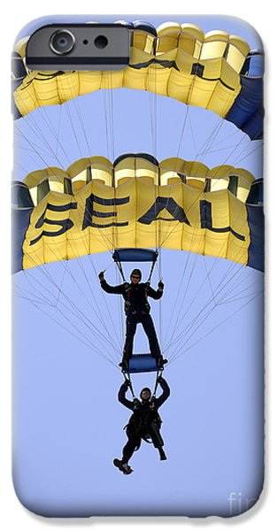 Flying Frog iPhone Cases - Members Of The U.s. Navy Parachute iPhone Case by Stocktrek Images