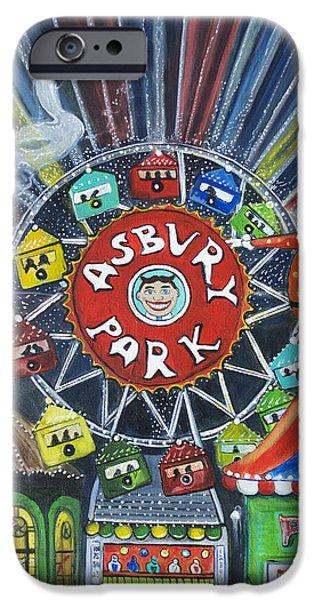 Asbury Park Paintings iPhone Cases - Memories of Asbury Park  iPhone Case by Patricia Arroyo