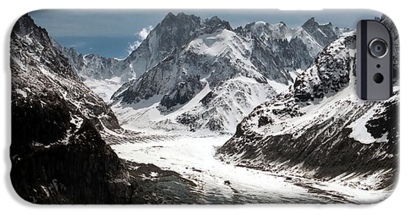 Snowy iPhone Cases - Mer de Glace - Mont Blanc Glacier iPhone Case by Frank Tschakert