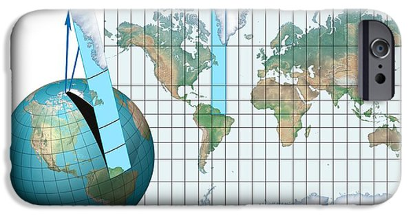 Rectangular iPhone Cases - Mercator Map Projection, Diagram iPhone Case by Claus Lunau