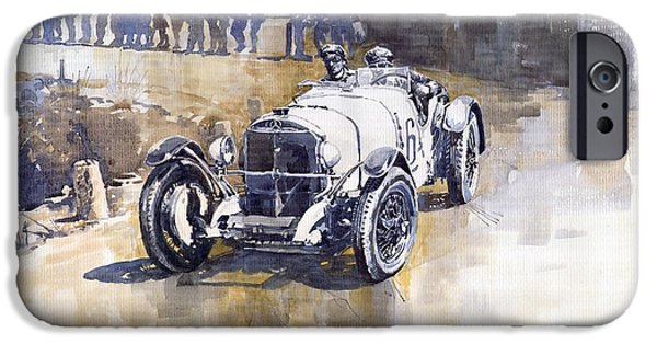 Vintage Sport Cars iPhone Cases - Mercedes Benz SSK 1930 Rudolf Caracciola iPhone Case by Yuriy  Shevchuk