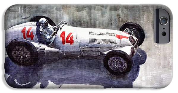 Auto iPhone Cases - Mercedes Benz W 125 1937 Swiss GP R Caracciola iPhone Case by Yuriy  Shevchuk