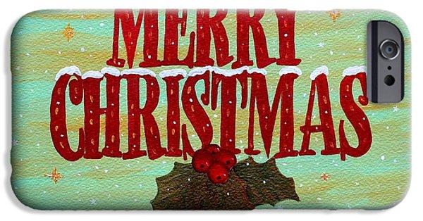 Christmas Greeting Paintings iPhone Cases - Merry Christmas iPhone Case by Georgeta  Blanaru