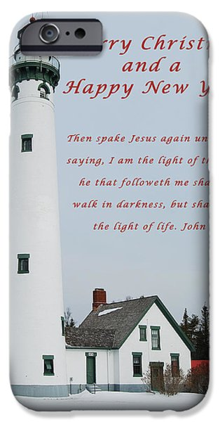 Lighthouse iPhone Cases - Merry Christmas Lighthouse iPhone Case by Michael Peychich
