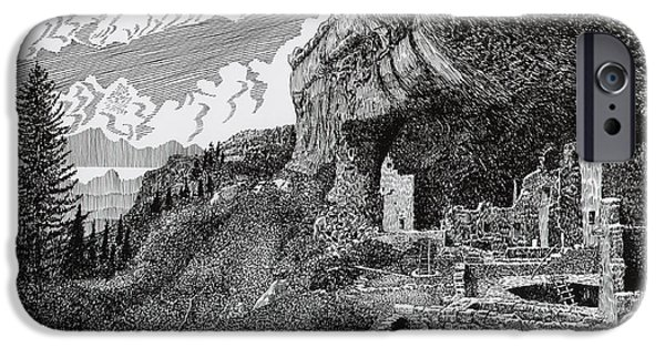 Pen And Ink Framed Prints iPhone Cases - Mesa Verde Cliff Dwellings iPhone Case by Jack Pumphrey