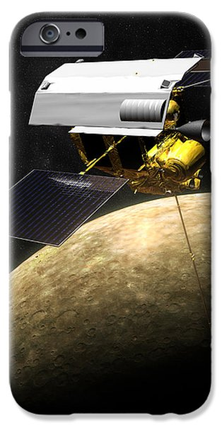 Messenger iPhone Cases - Messenger Spacecraft At Mercury iPhone Case by Nasa