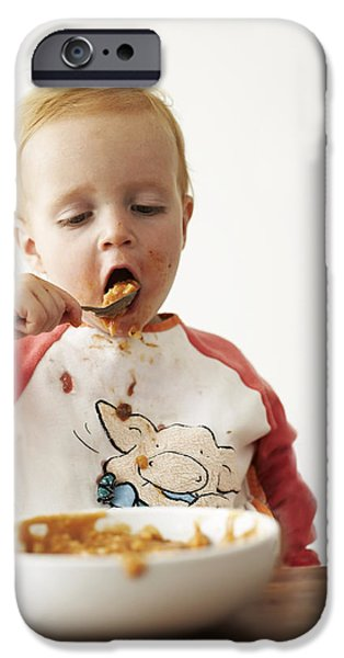 Dribbling iPhone Cases - Messy Boy iPhone Case by Ian Boddy