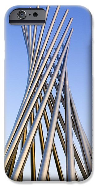 Chicago iPhone Cases - Metal Sculpture At Fermilab iPhone Case by Mark Williamson