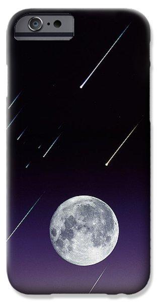 Meteors And Full Moon iPhone Case by David Nunuk