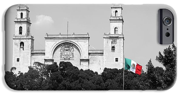 Mexico iPhone Cases - Mexico Flag on Merida Cathedral San Ildefonso Town Square Color Splash Black and White iPhone Case by Shawn O