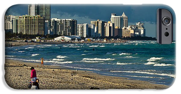 Beach iPhone Cases - Miami Beach Afternoon Skyline  iPhone Case by Andres Leon