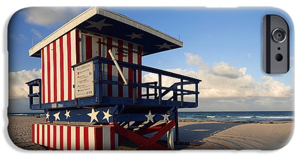 Balcony iPhone Cases - Miami Beach Watchtower iPhone Case by Melanie Viola