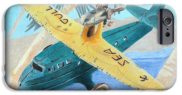 Color Drawings iPhone Cases - Miami-Cuba iPhone Case by Glenda Zuckerman