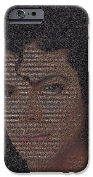 Mj Digital Art iPhone Cases - Michael Jackson Songs Mosaic iPhone Case by Paul Van Scott
