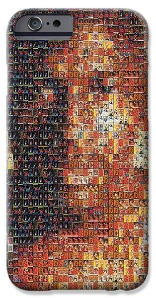 Rookie Card Mixed Media iPhone Cases - Michael Jordan Card Mosaic 1 iPhone Case by Paul Van Scott