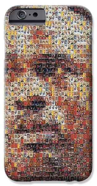 Rookie Card Mixed Media iPhone Cases - Michael Jordan Card Mosaic 3 iPhone Case by Paul Van Scott