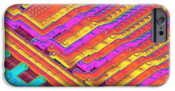Microchip Photographs iPhone Cases - Microchip Surface, Sem iPhone Case by Power And Syred