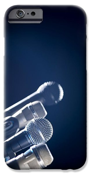 Press Conference iPhone Cases - Microphones iPhone Case by Tek Image