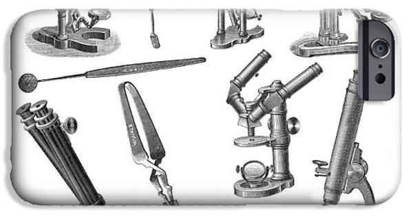 Tweezers iPhone Cases - Microscopes, Historical Artwork iPhone Case by Mehau Kulyk