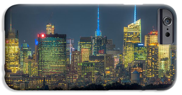 Nast iPhone Cases - Mid-town Manhattan Twilight I iPhone Case by Clarence Holmes