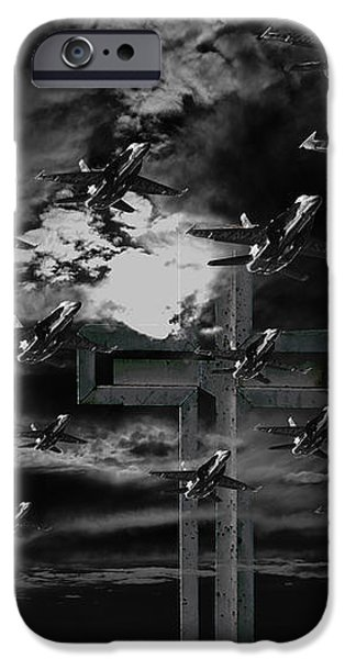 Midnight Raid Under The Red Moonlight iPhone Case by Wingsdomain Art and Photography