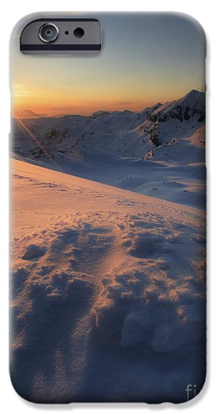 Landscape In Norway iPhone Cases - Midnight Sun Above Lilletinden iPhone Case by Arild Heitmann