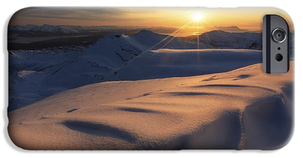 Landscape In Norway iPhone Cases - Midnight Sun Over Lilletinden Mountain iPhone Case by Arild Heitmann