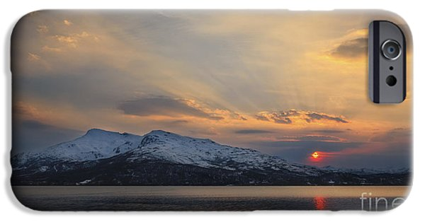 Sunset In Norway iPhone Cases - Midnight Sun Over Tjeldsundet Strait iPhone Case by Arild Heitmann