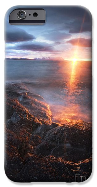 Sunset In Norway iPhone Cases - Midnight Sun Over VÃ¥gsfjorden iPhone Case by Arild Heitmann
